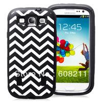 Free Shipping Galaxy S3 Wave Pattern Case Galaxy S III Case Chevron Samsung Galaxy i9300 Hybrid Case