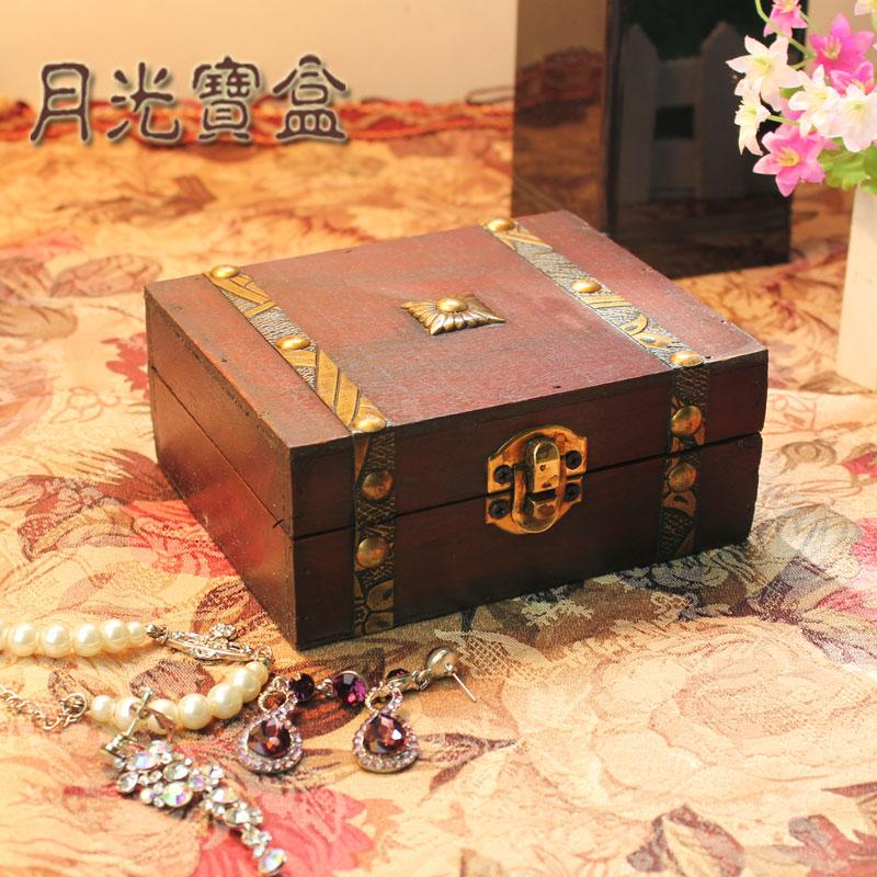 Antique rectangle wooden box jewelry box zakka storage gift packaging box vintage box Jewelry chest(China (Mainland))