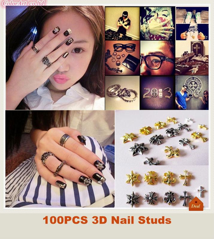 3d metal nail art images 3d nail studs hearts 100pcs prinsesfo Images