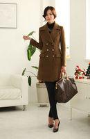 2013 New Fashion Autumn Winter Women Slim Warm Wool Trench Coat Woolen Long Windbreak Outerwear Clothes Gift