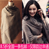Autumn and winter flash check scarf broadened plus size thickening plaid cape dual female thermal winterisation  (free shipping)
