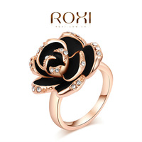 ROXI fashion new arrival, genuine Austrian crystal ,black Flower.  Rose Gold-plated ring, Chrismas /Birthday gift,2010004370