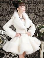 2014 Autumn Winter Fashion Women's Overcoat Artificial Rabbit Hair Fox Fur Slim Fur Coat Luxury White Fur Jacket for Sale A577