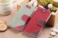 High Quality Rural woven fabric leather Flip case for iphone 5C,British Contrast color stand cover thin card slot Phone case