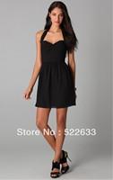 Free Shipping Black Sheath Short Halter Cheap Sexy Cocktail Dresses 2014