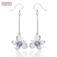 Free shipping Smarten Women flower 925 pure silver drop earring purple silver jewelry long design silver earrings