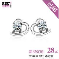 Free shipping New arrival 925 pure silver heart stud earring Women earrings anti-allergic earring silver jewelry lovers gifts