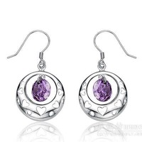 Free shipping Fashion cutout Women elegant earrings 925 pure silver drop earring anti-allergic shemist earring silver jewelry