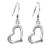 Free shipping Love shaped elegant Women 925 pure silver earrings anti-allergic long design earrings silver jewelry drop earring