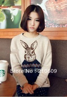 2013 autumn&winter  Round neck long sleeve big ears rabbit design ladies sweater