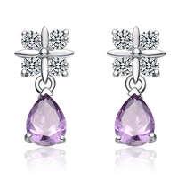 Free shipping Fashion rhinestone Women beautiful elegant amethyst earrings 925 pure silver earring silver jewelry long design