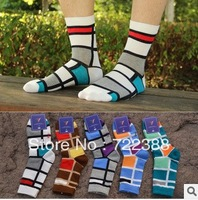2013 New arrival korea half tube socs lattice color patch men cotton socks  huf  deodorized socks wholesale 6pairs/lot (BW078)