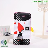 DHL Shipping 50pcs/lot New Cute Girl Flip Pouch Wallet Cover Leather Case For Apple iphone 5 5G 5S With Wristlet Cases