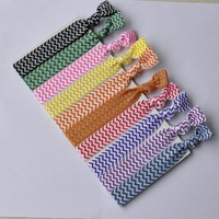Free shipping wholesale 200pcs mixed  10colors Chevron Print FOE Hair Tie Elastic hair  accessories for hair ponytail holder