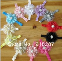 Free Shipping 36pcs/lot baby kid's double layers lace Rhinestone&Pearls flower hair band Children's Headband