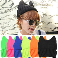 Free Shipping Neon candy horn cat ears knitted hat