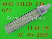 LED Bulb 13W 5050 SMD 64 LED G24 Corn Light Lamp Cool White/Warm White AC 85V-265V Side lighting