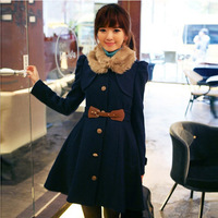 2013 new winter models single-breasted cashmere coat fur collar waist woolen jacket and long sections coat wholesale 1438#5
