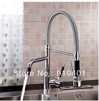 Hot Sale Wholesale And Retail Promotion Swivel Spout Chrome Brass Kitchen Faucet Dual Spouts Sink Mixer Tap One Handle