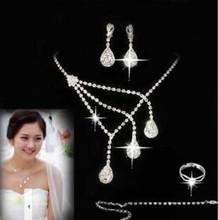 The bride accessories chain sets rhinestone necklace the bride accessories 4 piece set wedding marriage jewelry