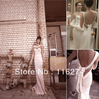 2013 Inbal dror Floor Length Chifffon Sleeveless sweatheart Lace Backless Mermaid Pearls Bridal Gown Beach Wedding Dresses