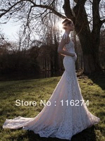 2013 New Inbal Dror Sexy Deep V-Neck Backless Lace Mermaid Wedding Dresses Bridal Long Gowns