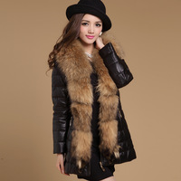 Genuine sheepskin leather clothing super large female raccoon fur medium-long down coat outerwear