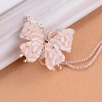 K205 accounterment female fashion exquisite cutout butterfly flower crystal design long necklace
