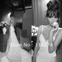 2013 Inbal Dror New Arrival Sexy sweetheart Applique backless mermaid  wedding dress Bridal gown