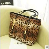 Leopard print bag fashion big bags 2013 women's handbag vintage color block one shoulder handbag travel bag b9