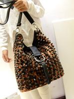 Fashion autumn rivet leopard print bag leather bucket women's handbag female fashion messenger bag casual bag messenger bag