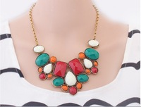 fashion vintage colourful necklace for party  wholesale 12 pcs a lot