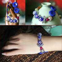 Nunatak natural agate colored glaze sculpture bodhi bracelet adjustable