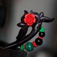 Chinese style classic lubai child natural ebony wood hair stick hairpin