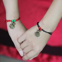 Mandarin duck red string bracelet female adjustable anklet vintage cutout small fish bell lovers design