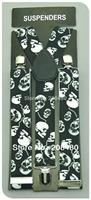 "Free shipping-Men's Unisex Clip-on Braces Elastic 3.5cm Wide ""SKULL"" pattern Y-black Suspenders/gallus Wholesale & Retail"