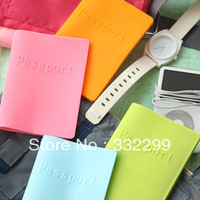 Passport cover candy neon color silica gel waterproof passport holder testificate set
