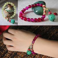 Lemon jade red agate flower colored glaze bracelet crystal sweet