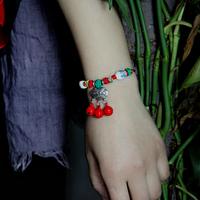 Buckle ceramic antique silver vintage longevities bell adjustable bracelet