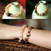 Champagne color tyranids agate bodhi sculpture lotus bracelet