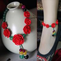 Beautiful rose bangle elegant gift female agate adjustable