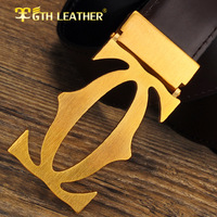Fashion Pure Copper Buckle Fashion Men First Grade Genuine Leather Belt Man Luxury Real Cowskin Belts Free Shipping No085
