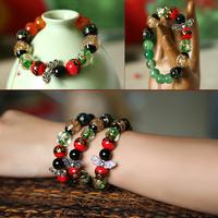 Crystal colored glaze flower decoration natural agate bracelet elegant