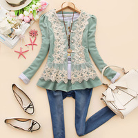Lovable Secret - Ddc-d954 2013 autumn women's o-neck long-sleeve lace skirt outerwear j-21  free shipping