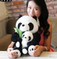 Free shipping 25cm  panda plush toy soft stuffed toy wholesale and retails mother and the kid panda