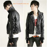 Male personality motorcycle leather clothing short design slim men's leather clothing the trend of fashion coat