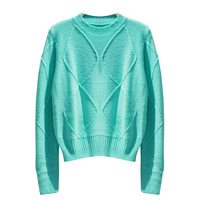 2012 korean ' vintage all-match short design rhombus autumn long-sleeve slim pullover knitted sweater 4