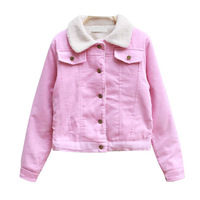 2013 winter vintage corduroy berber fleece liner female thermal design short outerwear wadded jacket