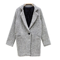 2013 winter Korea fashion Tweed fabric houndstooth woolen overcoat trench outerwear plus size female free shipping