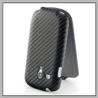 Deluxe Carbon Fibre Leather Flip Case Cover For samsung s3 mini i8190